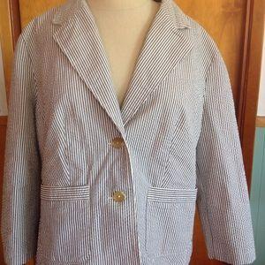 Seersucker blazer jacket Liz Claiborne L
